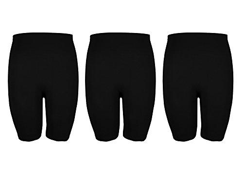 Crush Womens Seamless Basic Knee Length Bike Shorts Pack Of Three Black Size S/M