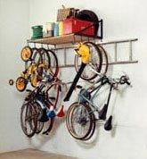 4-Foot Garage Storage Shelf and Bike Rack with Ladder Hooks
