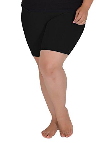 Stretch is Comfort Women's Teamwear Cotton Plus Size Bike Shorts Black 5X