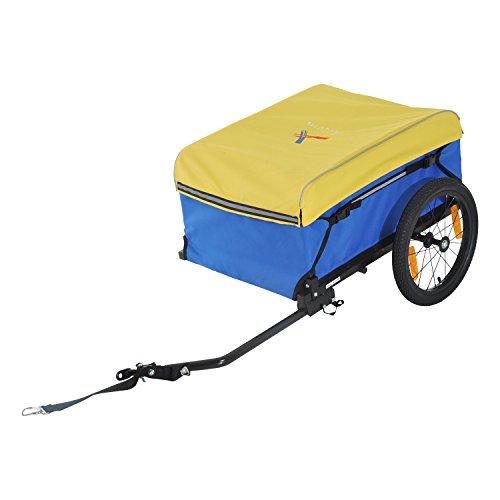 Aosom Two Wheel Enclosed Bike Cargo / Luggage Trailer with Hitch – Blue/Yellow