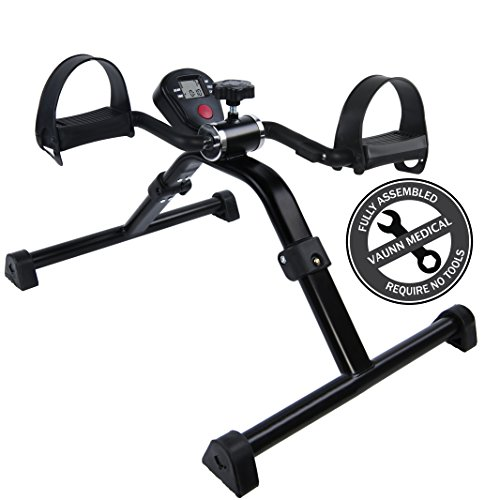Medical Folding Pedal Exerciser with Electronic Display for Legs and Arms Workout (Fully Assembl ...