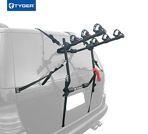 Tyger Auto TG-RK3B203S Deluxe Black 3-Bike Trunk Mount Bicycle Carrier Rack. (Fits most Sedans/H ...