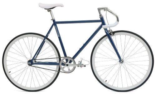 Critical Cycles Classic Fixed-Gear Single-Speed Bike with Pista Drop Bars, Midnight Blue, 43cm/X ...