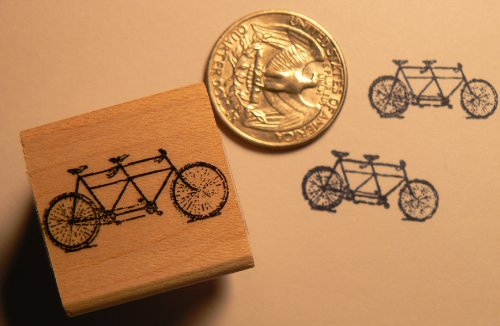 Miniature tandem bicycle rubber stamp