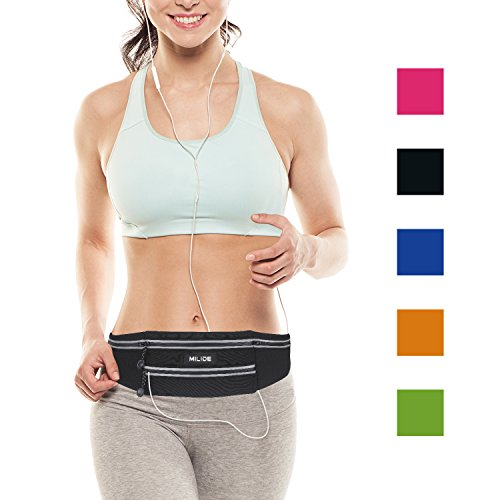 MILIDE Running Belt Waist pack for iphone x 8 7 plus With Reflective Strips Runner Workout | Wat ...