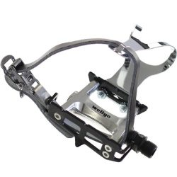 Wellgo Track Fixie Bike Pedal with Toe Clips and Leather Strap, Black