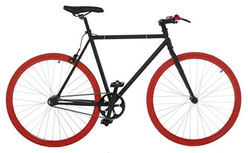 Vilano Fixed Gear Bike Fixie Single Speed Road Bike, Black/Red, 58cm/Large