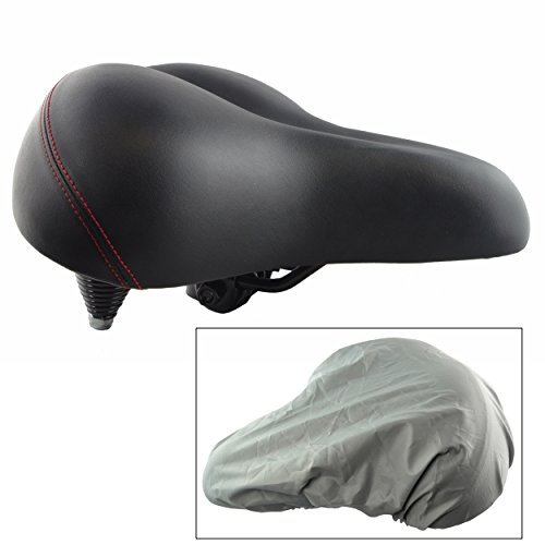 Lumintrail Oversize Wide Comfort Gel Foam Bike Seat w/ Suspension and Bicycle Saddle Cover for O ...