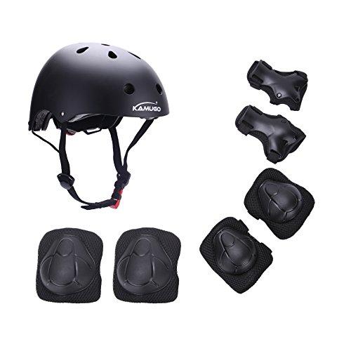 Kamugo Kids Youth Adjustable Sports Protective Gear Set Safety Pad Safeguard (Helmet Knee Elbow  ...