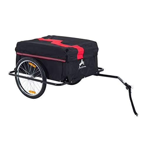 Aosom Elite II Bike Cargo / Luggage Trailer – Red / Black