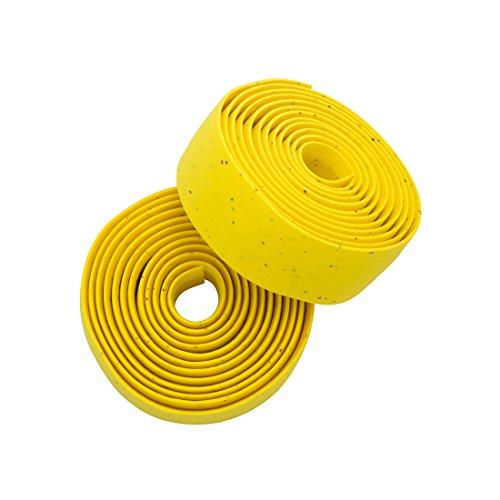 Planet Bike Comfort GEL Road Bike Handlebar Tape with Reflective Bar Plugs (Yellow Cork)