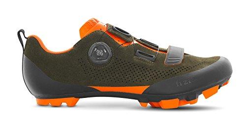 Fizik X5 Terra Suede Military Orange Fluo Cycling Footwear, Green, Size 44