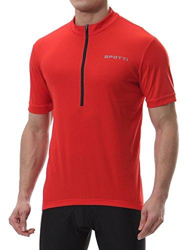 Spotti Men's Basic Short Sleeve Cycling Jersey – Bike Biking Shirt (Red, Chest 40-42 ...