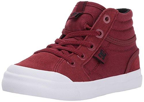 DC Boys' Youth Evan Hi Skate Shoes, Deep Red, 10 M US Toddler