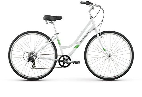 Raleigh Detour 1 Step Thru Comfort Bike, 17″ /MD Frame, White, 17″ / Medium