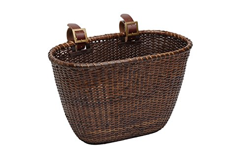 Retrospec Cane Woven Oval Dreamcatcher Basket with Authentic Leather Straps & Brass Buckles, ...