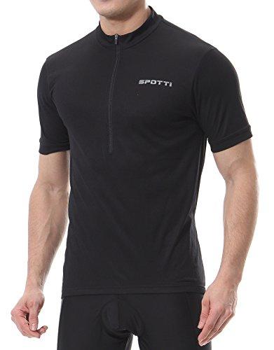 Spotti Basics Men's Short Sleeve Cycling Jersey – Bike Biking Shirt (Black, Chest 40 ...