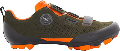 Fizik X5 Terra Suede Military Orange Fluo Cycling Footwear, Green, Size 46.5