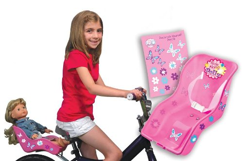 Ride Along Dolly Doll Bike Seat with Decorate Yourself Decals (Fits American Girl and Standard S ...