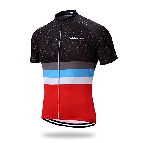 Runmaner Men's Cycling Jersey Short Sleeve Bike Clothing (Medium, Red)