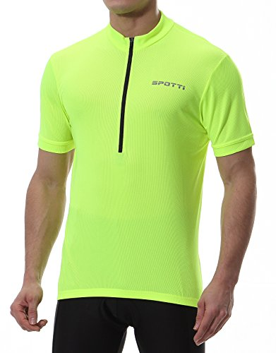 Spotti Basics Men's Short Sleeve Cycling Jersey – Bike Biking Shirt (Yellow, Chest 3 ...