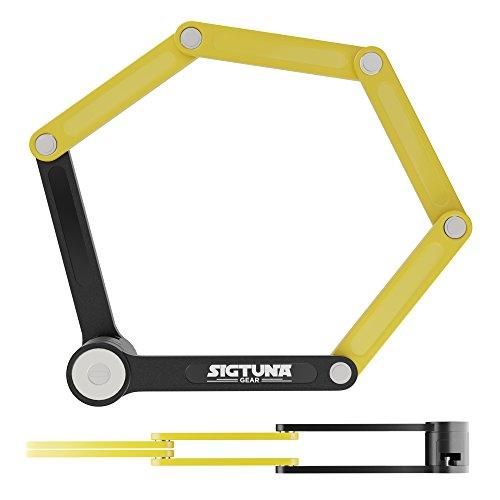 SIGTUNA Folding Bike Lock – Heavy Duty Fold Bike Lock with 1.3″ Alloy Steel Bars and Rivet ...