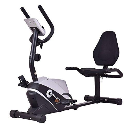 Goplus Magnet Recumbent Bike Exercise Bike Stationary Bicycle Cardio Workout Fitness Bicycle Equ ...