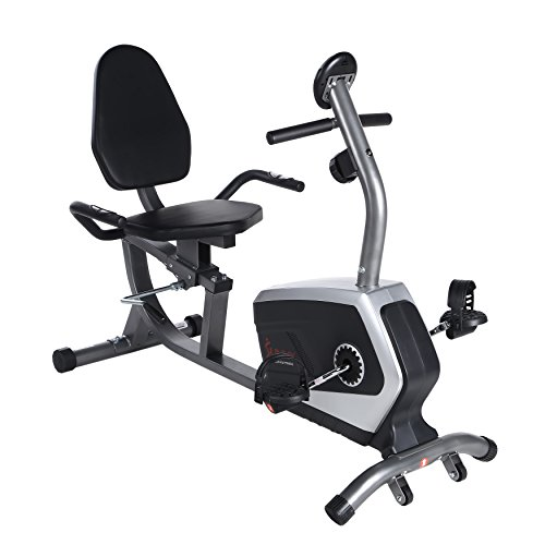 Sunny Health & Fitness Magnetic Recumbent Bike Exercise Bike, 300lb Capacity, Easy Adjustabl ...