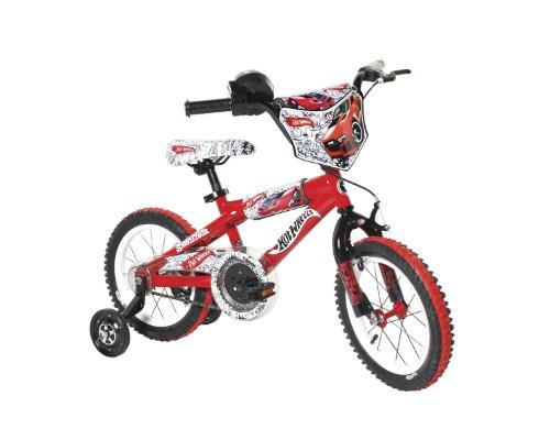 Dynacraft Hot Wheels Boys BMX Street/Dirt Bike with Hand Brake 14″, Red/White/Black