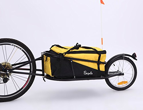 Sepnine single wheel bike cargo trailer aluminium frame 8002T (bicycle cargo trailer with yellow ...