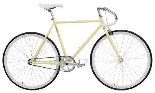 Critical Cycles Classic Fixed-Gear Single-Speed Bike with Pista Drop Bars, Cream, 53cm/Medium