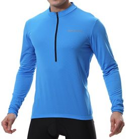 Spotti Men's Long Sleeve Cycling Jersey, Bike Biking Shirt- Breathable and Quick Dry (Ches ...