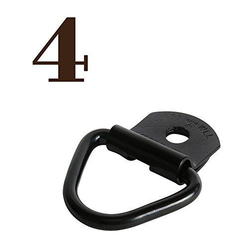 DC Cargo Mall FOUR 2″ Diameter Black Steel V-Ring BoltOn Trailer Cargo Tie-Down Anchor, Re ...