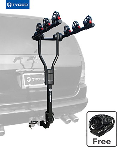 Tyger Auto TG-RK3B101S 3-Bike Hitch Mount Bicycle Carrier Rack | Free Hitch Lock & Cable Loc ...