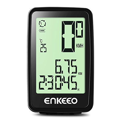 Enkeeo Wired Bike Computer USB Rechargeable Bicycle Speedometer Odometer with 12 Hour Backlight  ...
