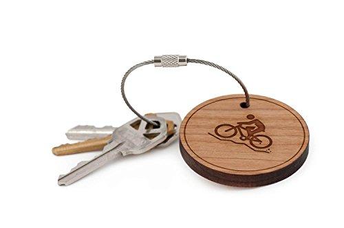 Mountain Bike Keychain, Wood Twist Cable Keychain – Small