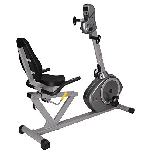 Sunny Health & Fitness Magnetic Recumbent Bike Exercise Bike, 350lb High Weight Capacity, Ar ...