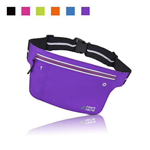 Fitters Niche UltraSlim Running Belt Fitness Outdoor Sports Waist Fanny Packs, Water Resistant R ...