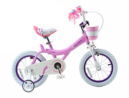 Royalbaby Bunny Girl's Bike, 14 inch wheels with basket and training wheels training wheel ...