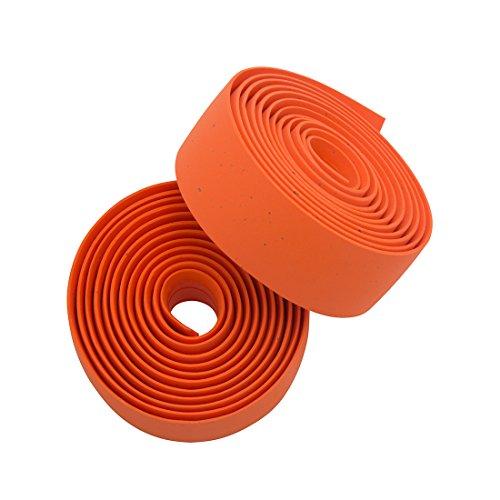 Planet Bike Comfort GEL Road Bike Handlebar Tape with Reflective Bar Plugs (Orange Cork)