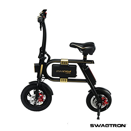 SWAGTRON SwagCycle E-Bike – Folding Electric Bicycle with 10 Mile Range, Collapsible Frame, and  ...