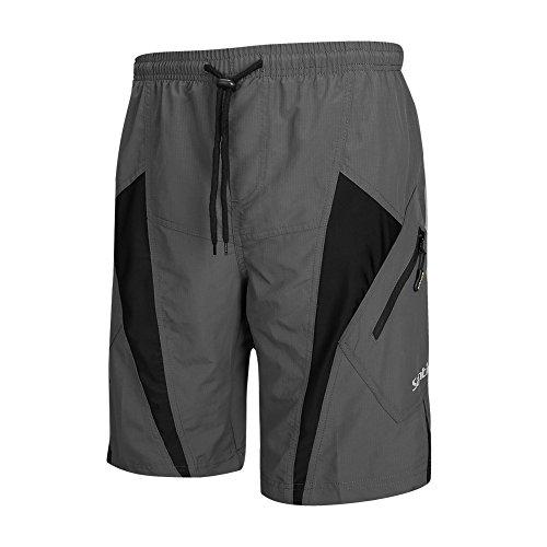 Santic Men's Cycling Shorts Loose-Fit 4D Padded Bike Bicycle MTB Mountain Bike Shorts Grey