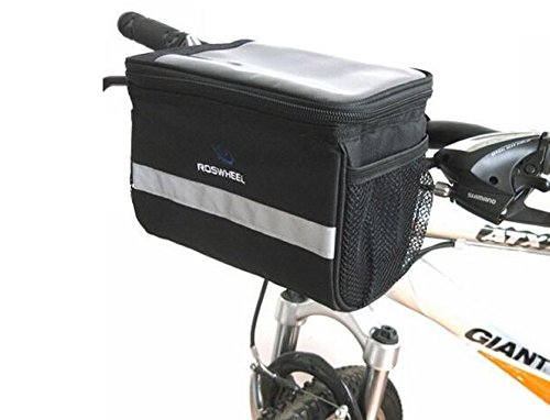 BicycleStoreBicycle Cycling Basket Handlebar Bag with Sliver Grey Reflective Stripe Outdoor Ac ...