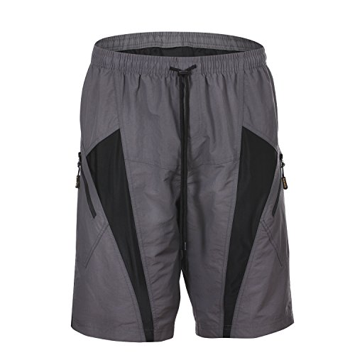 HAMSWAN Men's Loose-Fit Padded Breathable Bike Shorts for Cycling, Large, Gray