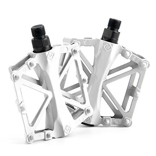 Chollima Aluminum Alloy Bicycle Pedals Road Bike Pedals for BMX MTB Cycling 9/16 Inch White