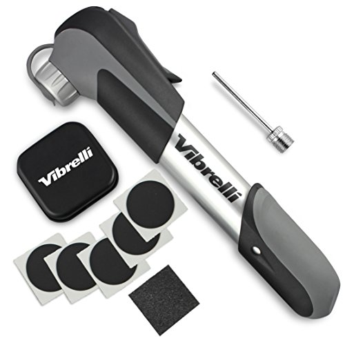 Mini Bike Pump & Glueless Puncture Repair Kit – Fits Presta & Schrader – 120 ...