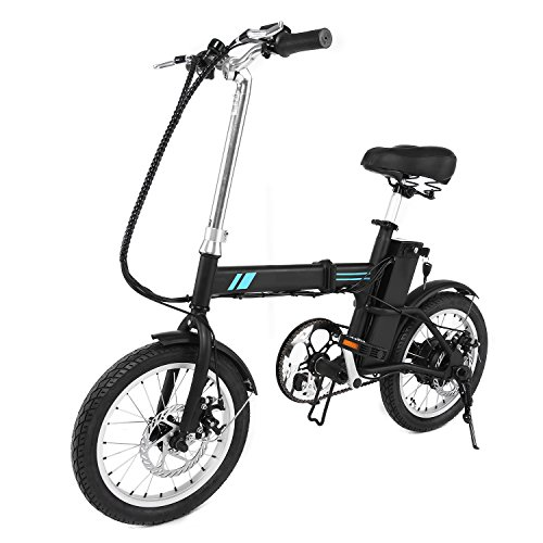 Zaplue 16″ Folding Electric Bike, Single Speed Electric Bicycle with Pedal Assist, 36V Lit ...
