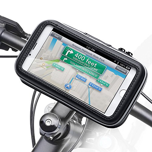 Bicycle Bike Phone Mount Holder, iKross Black Universal Water Resistant Pouch Holster Cover Case ...