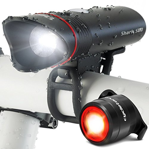SUPERBRIGHT Bike Light USB Rechargeable LED – FREE Taillight INCLUDED- Cycle Torch Shark 5 ...