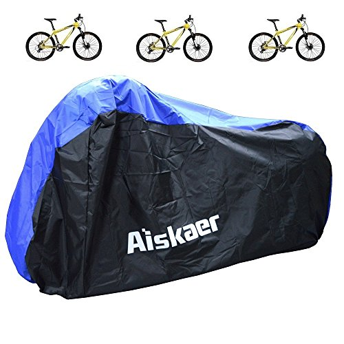 Aiskaer Nylon Waterproof Bicycle Cover Outdoor Rain Protector for 3 Bikes-dustproof and Sunscree ...